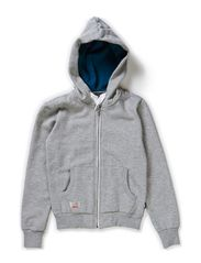 Hoodie with zip CROW - SEMI GREY MELANGE