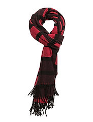 Multi check scarf - LIPSTICK RED/BURGUNDY