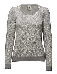 Sonja Feminine sweater - LIGHT GREY/OFF WHITE