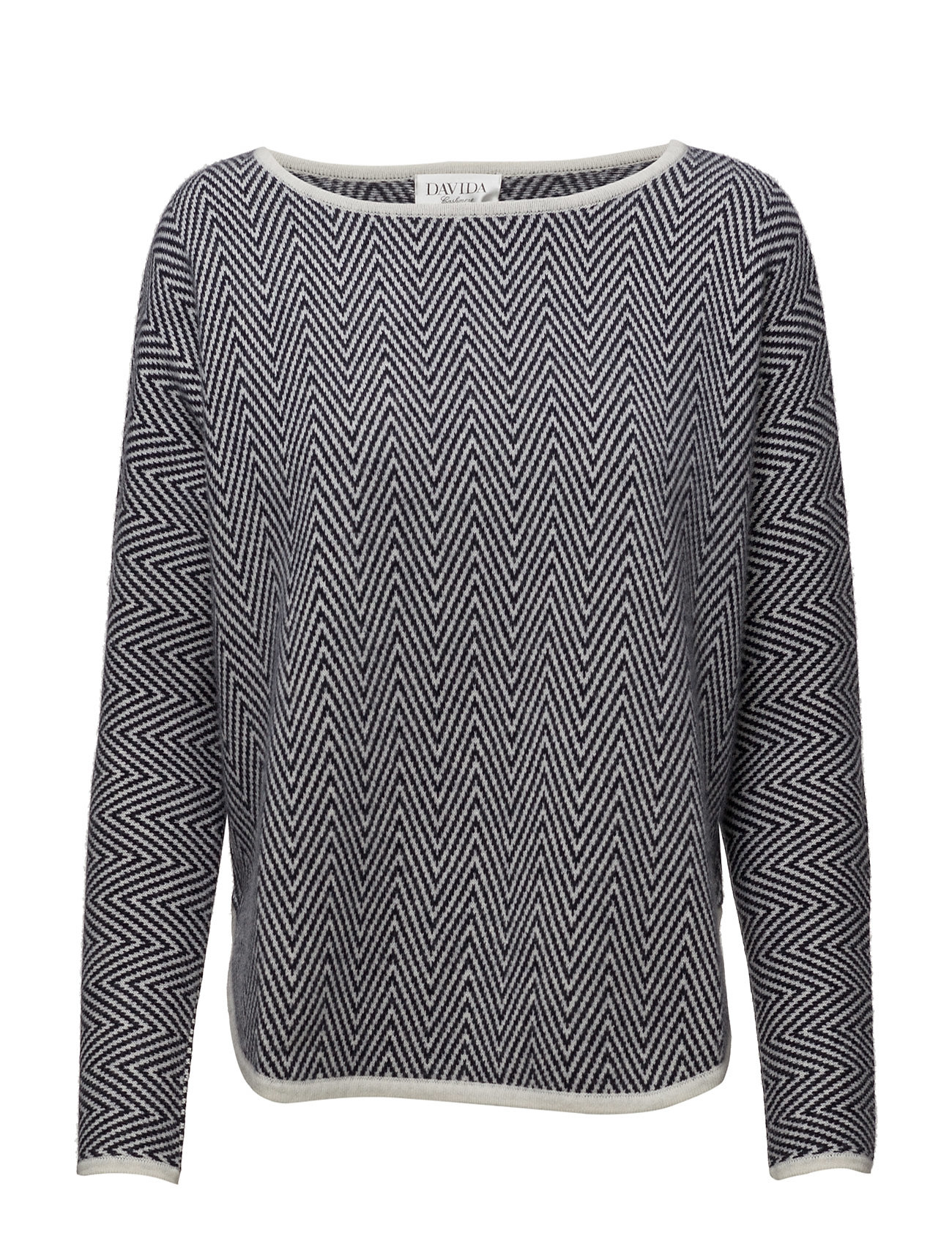 Herringbone Curved Sweater Davida Cashmere Sweatshirts til Damer i