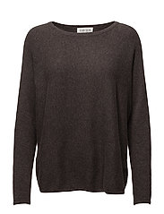 Curved Sweater - DARK BROWN