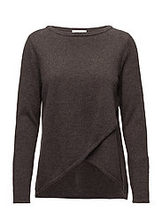 Wrap Front Sweater - DARK BROWN
