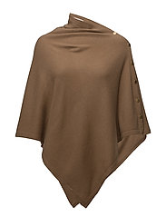 Poncho with gold buttons - CAPPUCCINO