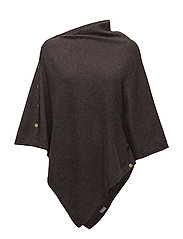 Poncho with gold buttons - DARK BROWN