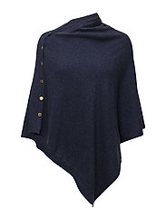 Poncho with gold buttons - DENIM BLUE