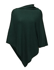 Poncho with gold buttons - PINE GREEN