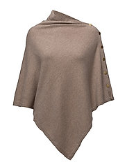 Poncho with gold buttons - SAND