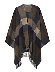 Day Checks Poncho - PEACOAT