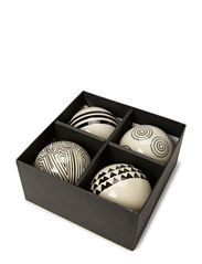 Ball Ornament, w/string, Set of 4 ass - White w/Black Decoration