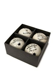 Ball Ornament, w/string, Set of 4 ass. - White w/Black Decoration