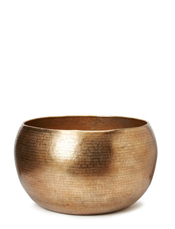 Hammered Pot, Large - Shiny Brass