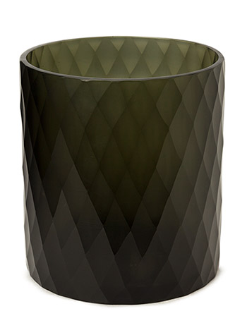 Diamond Handcut Glass Votive - BLACK
