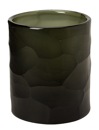 Geometrical Handcut Glass Votive - DIRT GREY