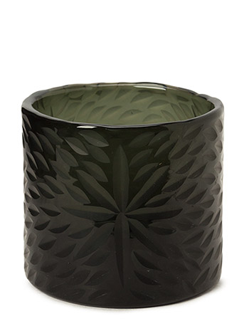 Flower Handcut Glass Votive - BLACK