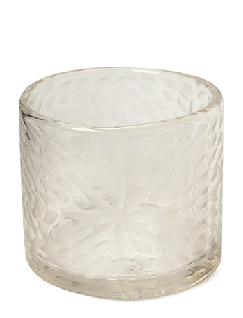 Flower Handcut Glass Votive - CLEAR