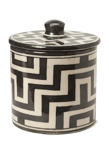 DAY Home Tile Pattern Handpainted Cotton Jar