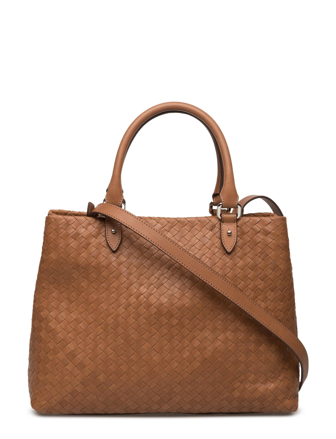 Woven Hand Bag With Strap Decadent Tasker til Kvinder i cognac