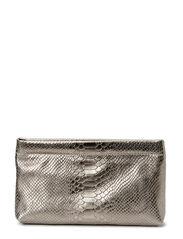Clutch with metal closure - Anaconda bronze