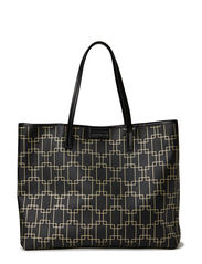 Wide tote w black - Black