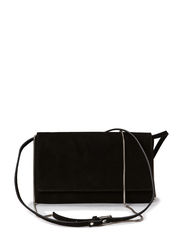 Suede clutch with chain and strap - Black
