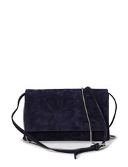 Suede clutch with chain and strap - Navy