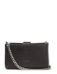 Tiny open cross body with chain - ANACONDA BLACK