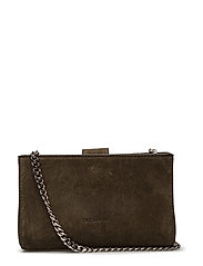 Tiny open cross body with chain - SUEDE ARMY