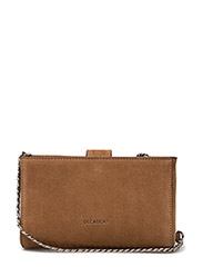 Tiny open cross body with chain - SUEDE COGNAC