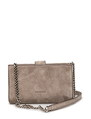 Tiny open cross body with chain - SUEDE SAND