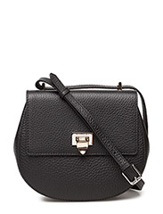 Tiny round satchel bag w/buckle - BLACK