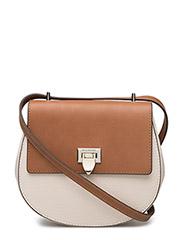 Tiny round satchel bag w/buckle - BONE/COGNAC