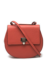 Tiny round satchel bag w/buckle - RED