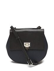 Tiny round satchel bag w/buckle - NAVY/BLACK