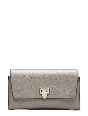 Small clutch w/buckle - METALLIC SILVER