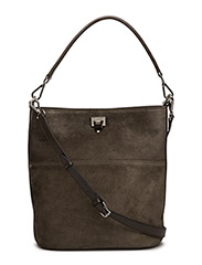 Big bucket bag w/buckle - SUEDE ARMY