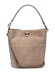 Big bucket bag w/buckle - SUEDE SAND