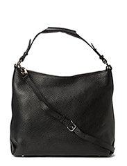 Soft Shoulder Bag with Zipper - Black