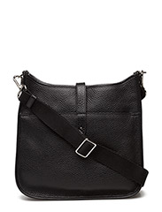 Cross body bag with canvas - BLACK