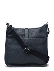 Cross body bag with canvas - NAVY