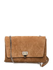 Big clutch with buckle and chain - SUEDE COGNAC