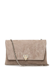 Big clutch with buckle and chain - SUEDE SAND