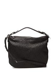 Woven flat shoulder bag - BLACK