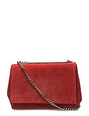 Small clutch with double chain - SUEDE SCARLET RED