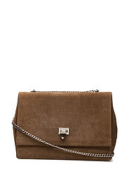 Big bag with buckle and chain - SUEDE LATTE