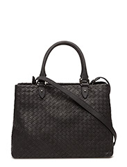Woven hand bag with strap - BLACK