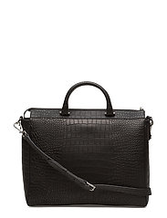 Alma soft handbag - ALLIGATOR BLACK