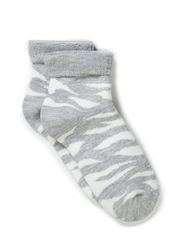 Ladies zebra and leo socks - D. grey mel./black leopard