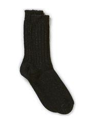 Ladies rag ankel sock - Black w. black lurex