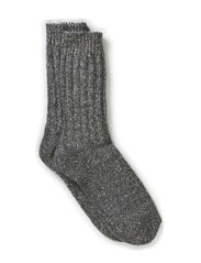 Ladies rag ankel sock - Grey w. silver lurex