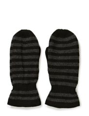 Ladies knitted mittens w.strp - Black/D.greymelange